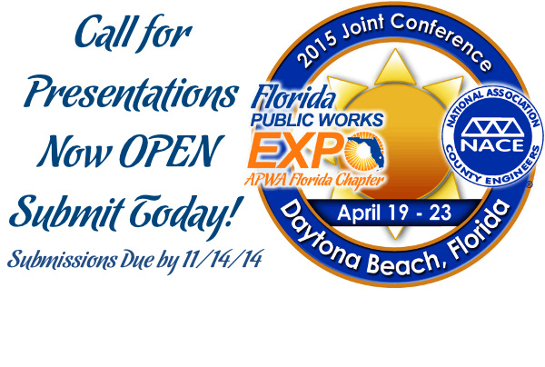 You can now submit your presentation papers online!  Click this link and submit to teach at the next Florida Public Works Expo!